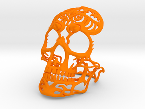 Skull sculpture Tribal Sugar 70mm in Orange Strong & Flexible Polished