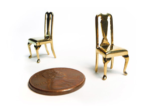 Pair of 1:48 Queen Anne Chairs in Natural Brass