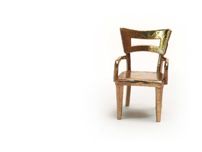 Pair of 1:48 Dog Bone Chairs, with Arms in Natural Brass