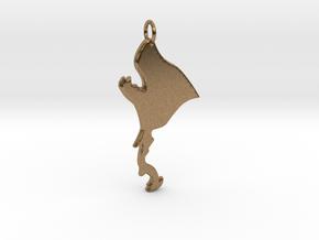 Werewolf Pendant in Natural Brass