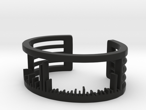Mass Spectrum Bracelet - Science Jewelry in Black Natural Versatile Plastic: Small