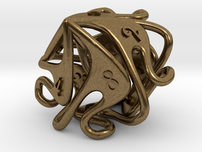 Curlicue 10-Sided Dice (alternate) in Natural Bronze