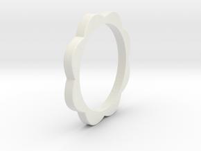 Flower Power Ring ML 18mm in White Natural Versatile Plastic
