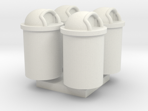 Trash Can 55 Gal HO 87:1 Scale Qty (4) in White Strong & Flexible