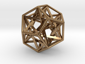 """Interlocking Tetrahedrons Dodecahedron 1.4"""" in Natural Brass"""