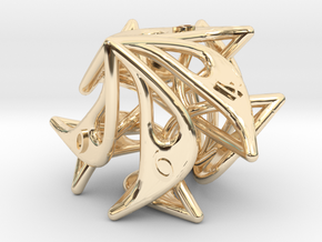 Curlicue 10-Sided Dice in 14k Gold Plated Brass
