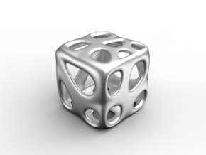 Organic Dice in Polished Grey Steel