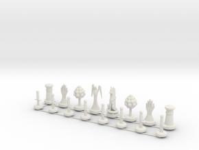 Chess Set Pieces Print in White Natural Versatile Plastic