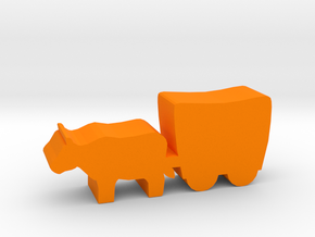 Game Piece, Smaller Ox And Wagon, 30mm version in Orange Processed Versatile Plastic