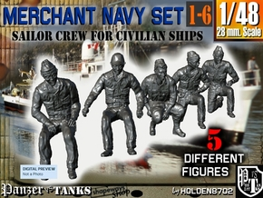 1-48 Merchant Navy Crew Set 1-6 in Smooth Fine Detail Plastic