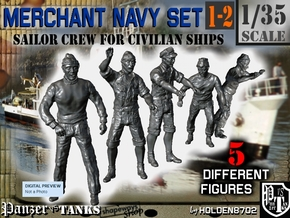 1-35 Merchant Navy Crew Set 1-2 in Smooth Fine Detail Plastic