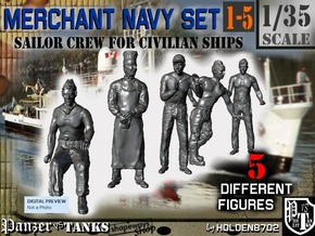 1-35 Merchant Navy Crew Set 1-5 in Smooth Fine Detail Plastic