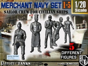 1-20 Merchant Navy Crew Set 1-5 in White Natural Versatile Plastic