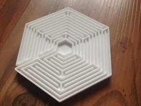 Hexagon Labyrinth Coaster in White Strong & Flexible