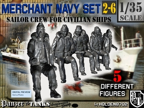 1-35 Merchant Navy Crew Set 2-6 in Smooth Fine Detail Plastic