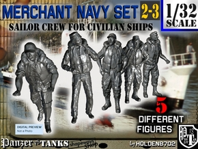 1-32 Merchant Navy Crew Set 2-3 in Smooth Fine Detail Plastic