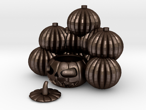 Pile Of Pumpkins Jackolantern in Matte Bronze Steel