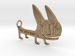 OLI ART BOX v1 Vicuna Figurine Pendant in Polished Gold Steel