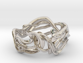 Art Nouveau Ring #1 in Rhodium Plated Brass: 5 / 49
