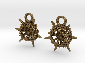 Spumellaria Earrings - Science Jewelry in Natural Bronze