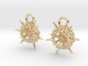 Spumellaria Earrings - Science Jewelry in 14k Gold Plated Brass