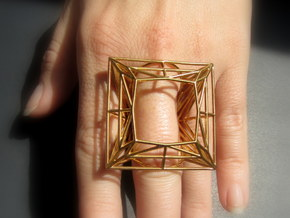 Ring The Diamond / size 8US ( 18,2 mm) in Polished Bronze