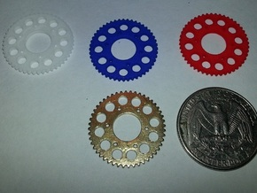 Motorcycle Sprocket Pendant or Golf Ball Marker in White Strong & Flexible Polished