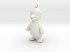 Cool Penguin Pendant in White Natural Versatile Plastic