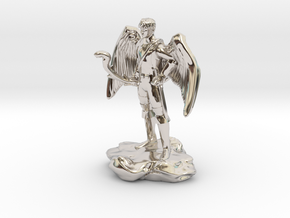 Winged Half-celestial with bow and sword in Rhodium Plated Brass