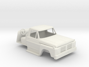 1/64 Late 1970's Ford F600 / F700 Cab with Interio in White Strong & Flexible