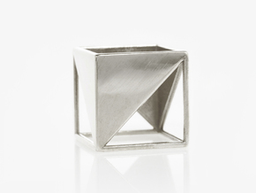 CUBE Nº 2 RING in Polished Silver: 8 / 56.75