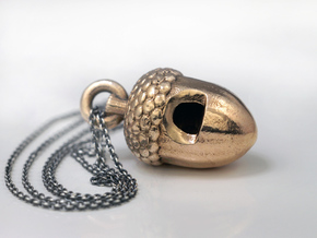 Acorn Whistle in Raw Bronze