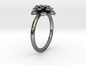 Chrysanthemum Flower Ring in Fine Detail Polished Silver: 8 / 56.75