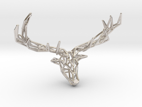 Untamed: The Deer Pendant in Rhodium Plated Brass: Small
