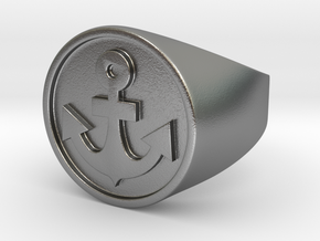 Anchor Band S. -  Signet Ring in Natural Silver: 7.5 / 55.5
