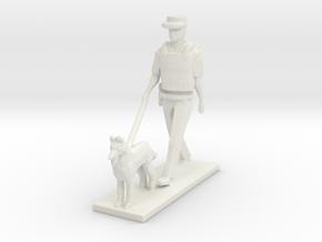 Police Walking with Dog K-9 (Summer in Paris) in White Natural Versatile Plastic: 1:87