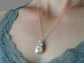 Anatomical Heart Pendant in Raw Silver