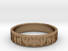 Fractal Curve Ring 22mm in Natural Brass