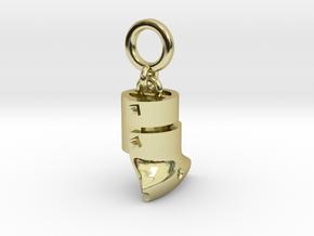 Ned Kelly Outlaw Helmet Bracelet Charm 5mm hanging in 18k Gold