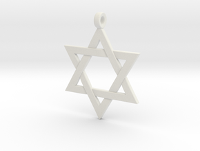 Star Of David v2 in White Natural Versatile Plastic: Small