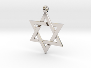 Star Of David v2 in Rhodium Plated Brass: Small
