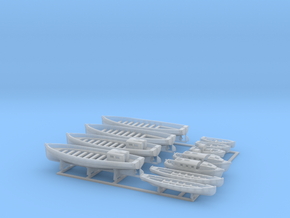 1/350 WW2 RN Boat Set 2 with Mounts in Smooth Fine Detail Plastic