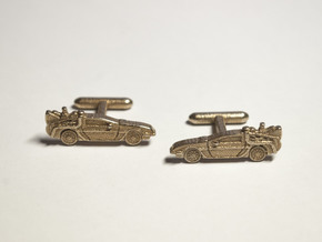 Back to the Future's Delorean: cufflinks in Polished Bronzed Silver Steel