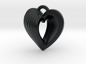 Heart Shell Pendant in Black Hi-Def Acrylate
