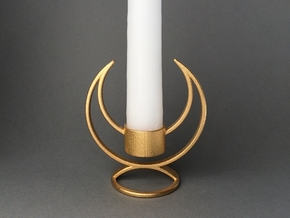 Candle Holder - 3D printed Candleholder in Matte Gold Steel