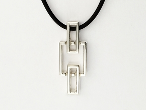 Geometric Pendant (sm) - Interlocking Rectangles in Polished Silver (Interlocking Parts)