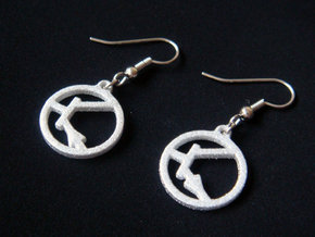 Transistor Symbol Earrings for Electrical Engineer in White Processed Versatile Plastic