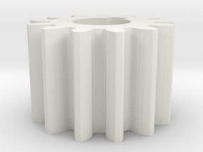 Cylindrical gear Mn=1 Z=13 AP20° Beta0° b=10 HoleØ in White Natural Versatile Plastic