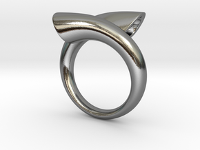 Ring biconico acuto in Polished Silver: 6 / 51.5