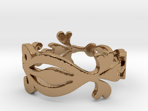 Scroll and Swirl Ring in Polished Brass: 7 / 54